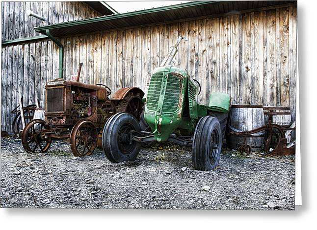 Mccormicks Farm Greeting Cards - Tired Tractors Greeting Card by Peter Chilelli
