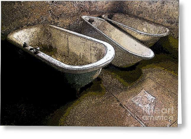 Digital Manipulation Greeting Cards - Tired Tubs 3 Greeting Card by Norman  Andrus