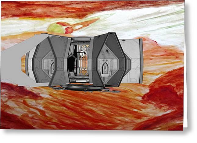 Anti Greeting Cards - Titan Flight Airlock  Greeting Card by Stanley Morganstein