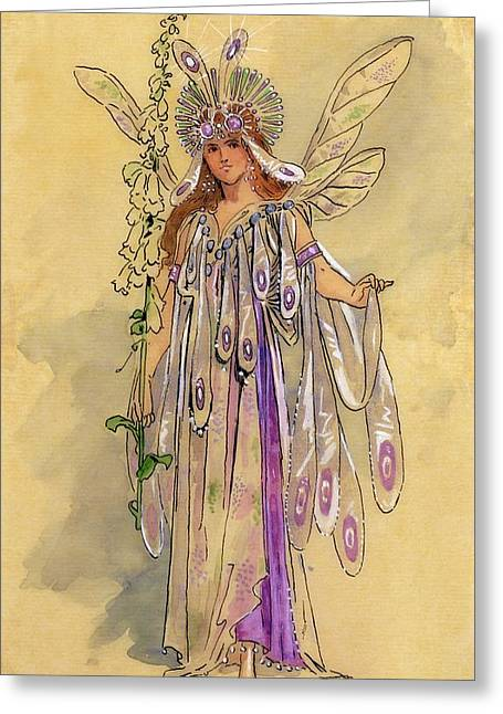 Fairies Drawings Greeting Cards - Titania Queen of the Fairies A Midsummer Nights Dream Greeting Card by C Wilhelm