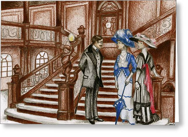Staircase Drawings Greeting Cards - Titanic - Grand Staircase Greeting Card by James Falciano