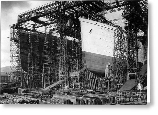 Photos Of The Ocean Greeting Cards - TITANIC: CONSTRUCTION, c1910 Greeting Card by Granger