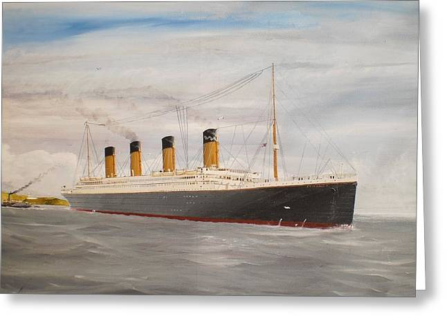 Southampton Water Paintings Greeting Cards - Titanic departing Queenstown Greeting Card by James McGuinness
