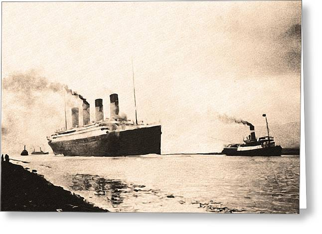 Titanic - Heading Out To Sea Greeting Card by Bill Cannon