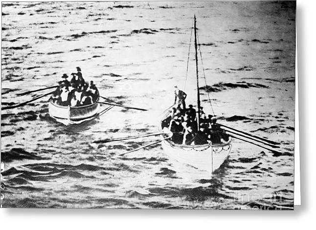 Atlantic Ocean.disaster Greeting Cards - Titanic: Lifeboats, 1912 Greeting Card by Granger