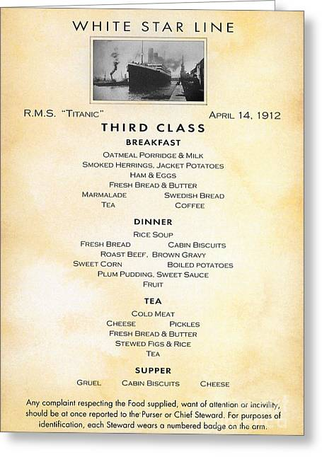 Last Supper Photographs Greeting Cards - Titanic: Menu, 1912 Greeting Card by Granger