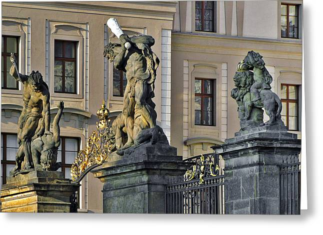 Baseball Bat Greeting Cards - Titans battling outside Prague Castle Greeting Card by Christine Till