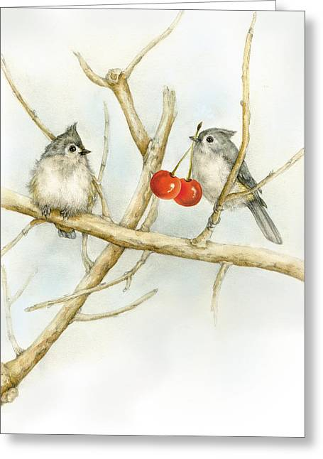 Naturalistic Pastels Greeting Cards - Titmice Greeting Card by Marina Durante