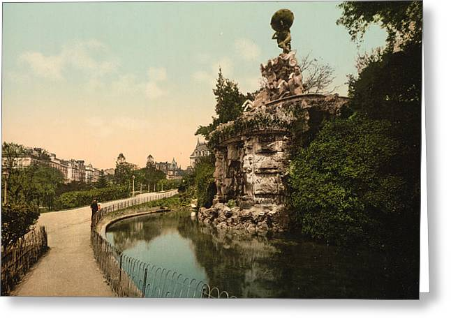 Southern France Greeting Cards - Titon Fountin in Beziers - France Greeting Card by International  Images