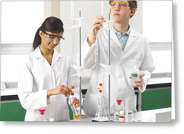 Schoolgirl Greeting Cards - Titration Experiments Greeting Card by