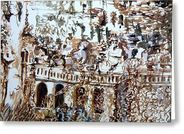 Tivili Fountains Greeting Card by Mindy Newman