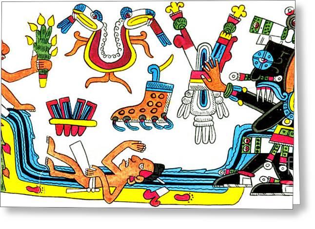 Human Sacrifice Artwork Greeting Cards - Tlaloc, Aztec God Of Rain, 15th Century Greeting Card by Photo Researchers