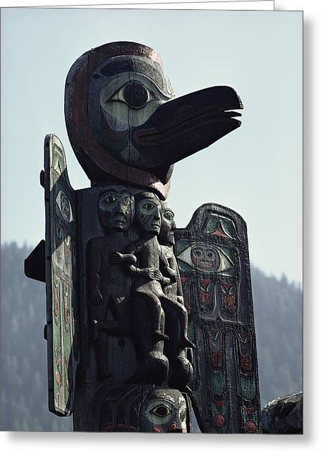 American Architecture And Art Greeting Cards - Tlingit Indian Totem Pole Greeting Card by George F. Mobley
