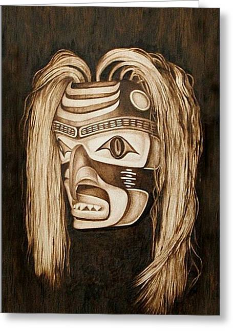 Pacific Northwest Pyrography Greeting Cards - Tlingit shark Mask Greeting Card by Cynthia Adams
