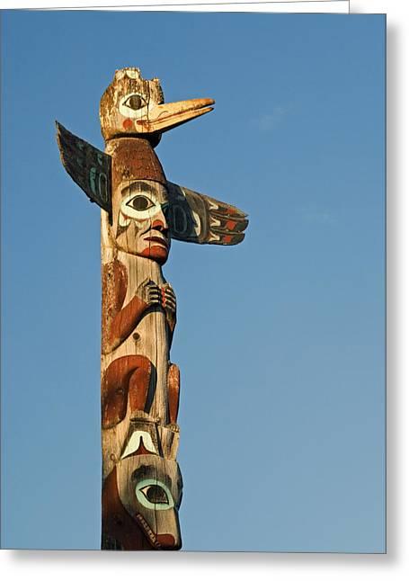 Park Scene Greeting Cards - Tlingit Totem Pole Greeting Card by Greg Vaughn - Printscapes