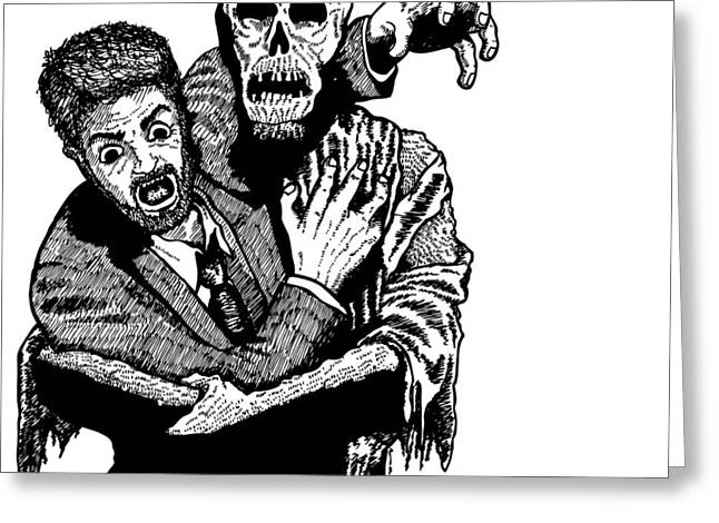 Horror Drawings Greeting Cards - To Hell Greeting Card by Karl Addison