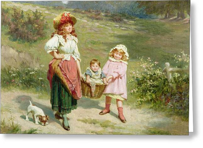 Dog Walking Greeting Cards - To Market To Buy a Fat Pig Greeting Card by Edwin Thomas Roberts