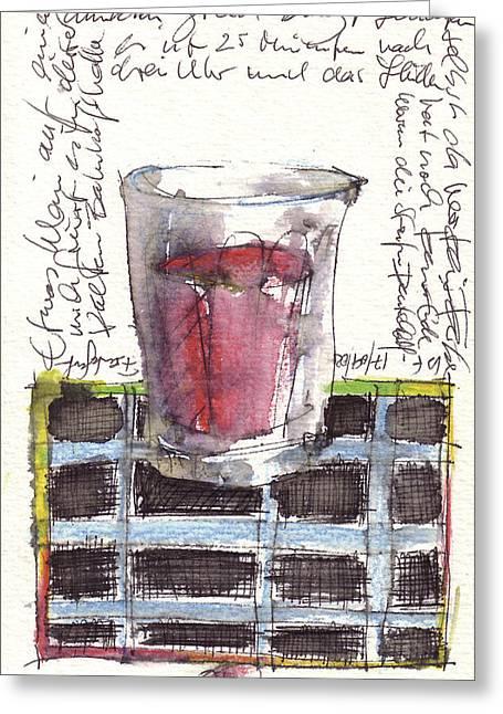 Red Wine Prints Digital Art Greeting Cards - To Raise One Greeting Card by Joerg Bernhard Klemmer