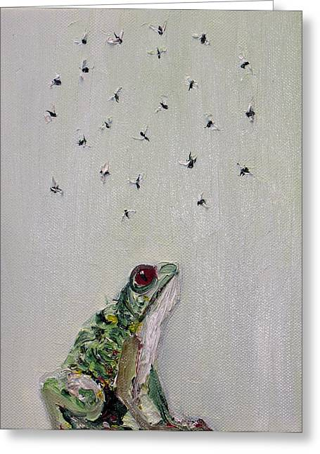 Recently Sold -  - Flying Frog Greeting Cards - To Save Their Small Lives From Surrounding Death Greeting Card by Fabrizio Cassetta