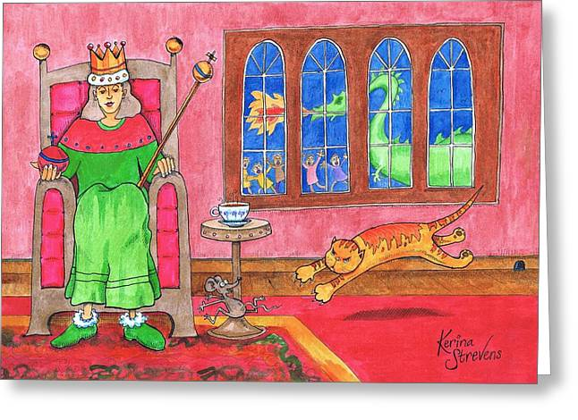 Nursery Rhyme Drawings Greeting Cards - To See The Queen Greeting Card by Kerina Strevens
