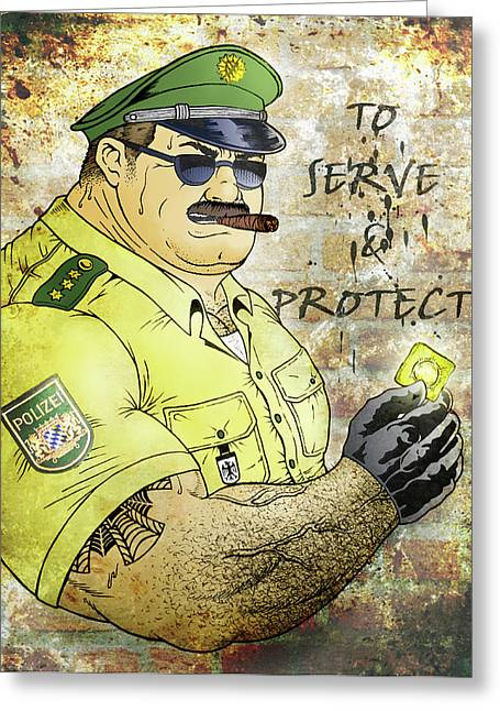 Police Officer Greeting Cards - To Serve And Protect Greeting Card by Bear Pictureart