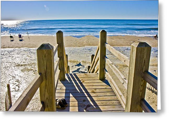 Topsail Island Greeting Cards - To the Beach Greeting Card by Betsy A  Cutler
