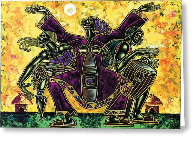 Spiritual Paintings Greeting Cards - To The Beat Of The Drum Greeting Card by Larry Poncho Brown