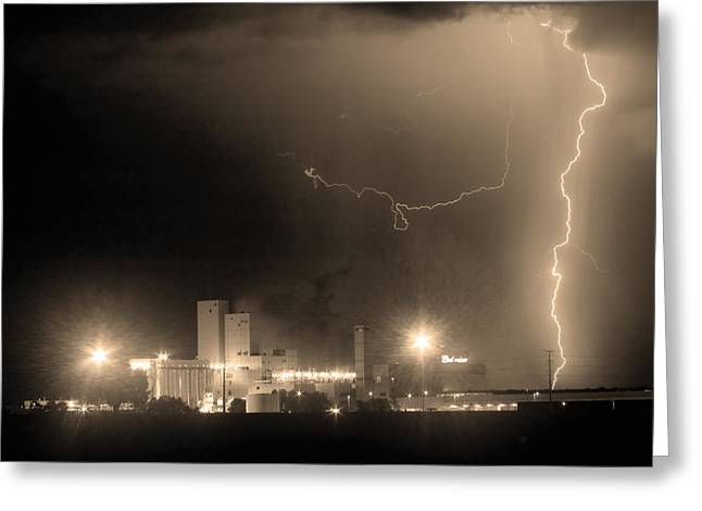 Lightning Photographer Greeting Cards - To The Right Budweiser Lightning Strike Sepia  Greeting Card by James BO  Insogna