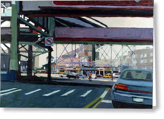 City Scenes Paintings Greeting Cards - To The Triboro Greeting Card by Patti Mollica