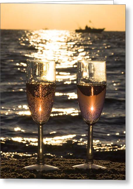 Wine Reflection Art Greeting Cards - Toast to the Evening Greeting Card by Jeramie Curtice