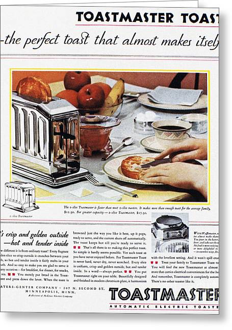 Toast Greeting Cards - Toaster Ad, 1931 Greeting Card by Granger