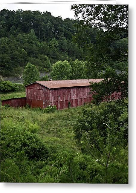 Tobacco Barn From Afar Greeting Card by Douglas Barnett