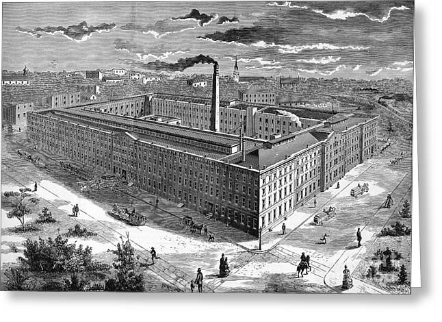 1876 Greeting Cards - Tobacco Factory, 1876 Greeting Card by Granger