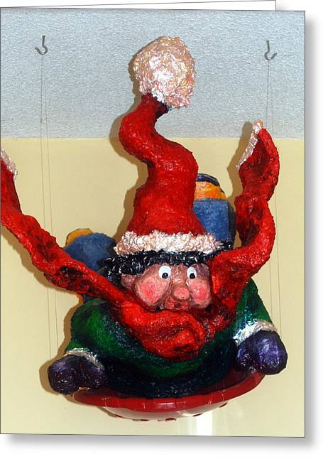 Winters Sculptures Greeting Cards - Tobagganing Boy Greeting Card by Alison  Galvan