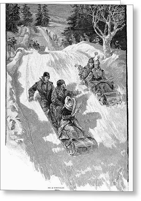 Tobogganing Greeting Cards - Tobogganing, 1885 Greeting Card by Granger