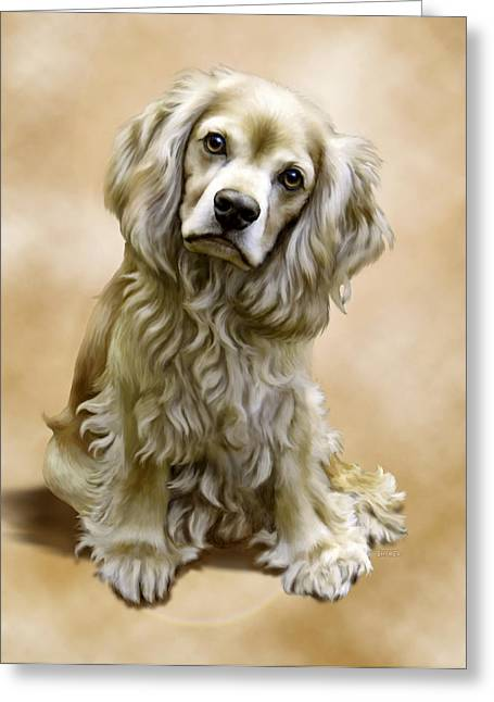 Spaniel Digital Art Greeting Cards - Toby Greeting Card by Barbara Hymer