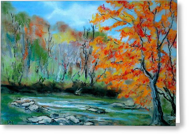 Mountains Pastels Greeting Cards - Toccoa River Greeting Card by Pete Maier