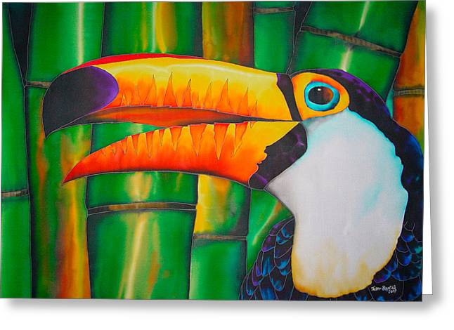 Caribbean Art Tapestries - Textiles Greeting Cards - Toco Toucan Greeting Card by Daniel Jean-Baptiste