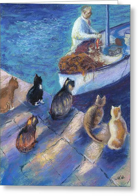 Fishing Boats Pastels Greeting Cards - Todays Catch Greeting Card by Helen Hammerman