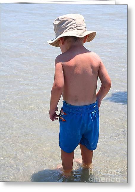 Ocean Photography Greeting Cards - Toddler Ocean Adventure Greeting Card by Susan Stevenson