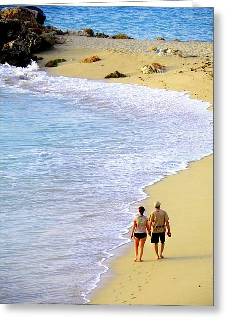Footprints In The Sand Greeting Cards - Together Alone Greeting Card by Karen Wiles
