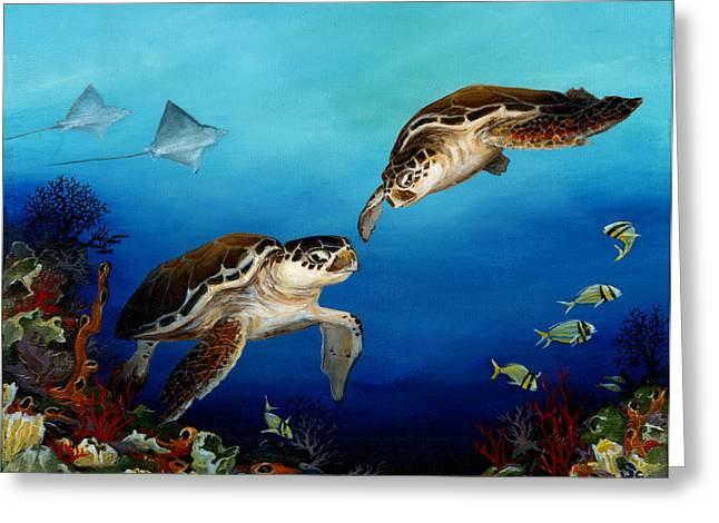 Black Marlin Paintings Greeting Cards - Together Greeting Card by Sandra Camper