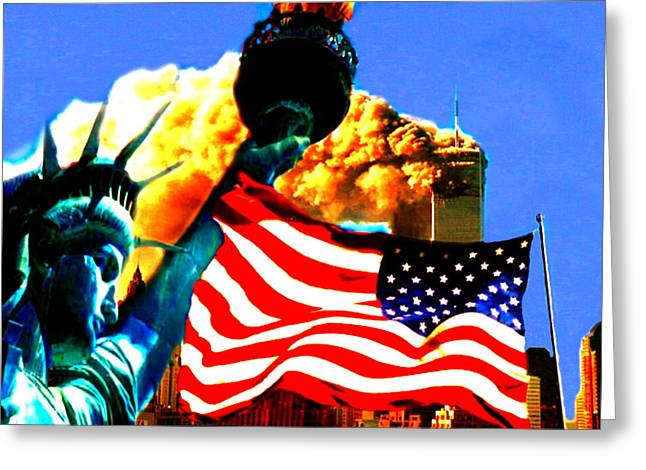 Terrorism Mixed Media Greeting Cards - Together We Stand Greeting Card by Romy Galicia