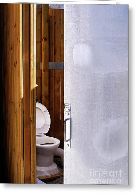 Public Restroom Greeting Cards - Toilet in public restroom Greeting Card by Sami Sarkis