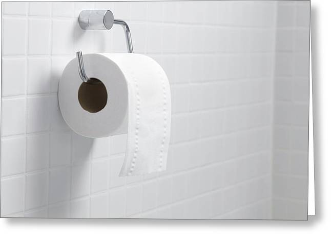 Toilet Roll Holder Greeting Cards - Toilet Paper Holder And Roll Greeting Card by Tek Image