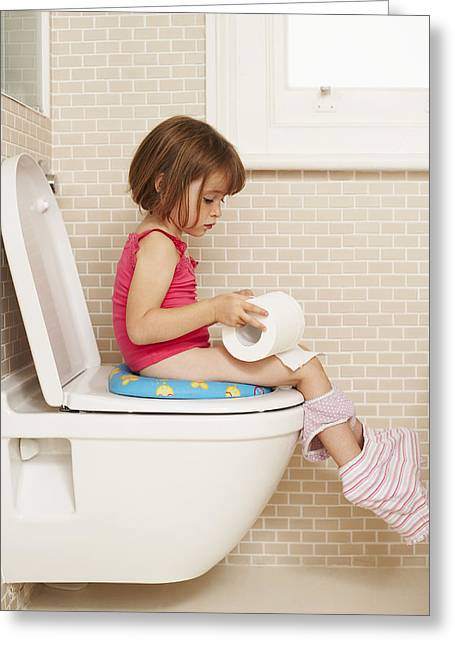 Child Care Greeting Cards - Toilet Training Greeting Card by Ian Boddy