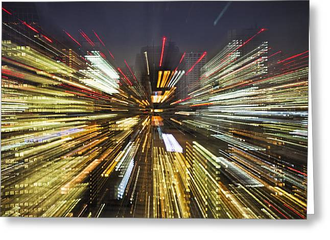 Man Made Space Greeting Cards - Tokyo Lights At Night A Zoom Effect Greeting Card by Bryan Mullennix