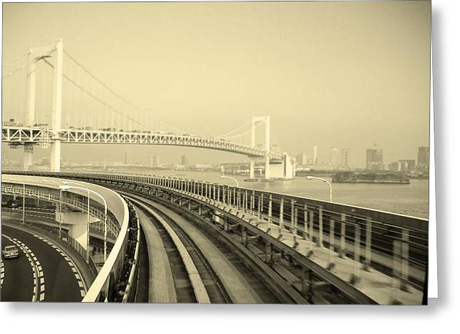 Contemporary Architecture Greeting Cards - Tokyo Metro Ride Greeting Card by Naxart Studio