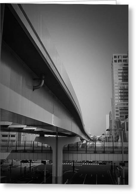 Contemporary Architecture Greeting Cards - Tokyo Overpass Greeting Card by Naxart Studio