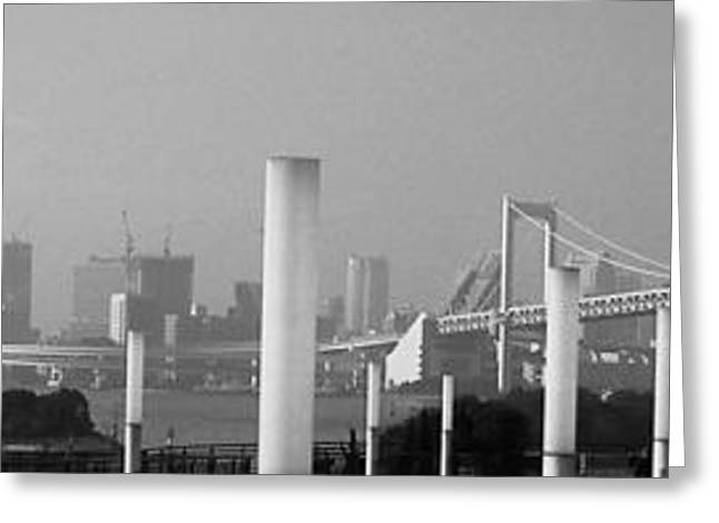 Contemporary Architecture Greeting Cards - Tokyo Panorama Greeting Card by Naxart Studio